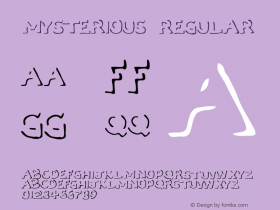 Mysterious Regular Macromedia Fontographer 4.1 5/31/96 Font Sample