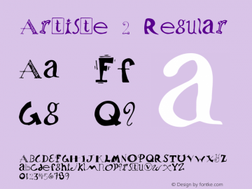 Artiste 2 Regular Macromedia Fontographer 4.1 5/30/96 Font Sample