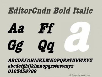 EditorCndn Bold Italic Font Version 2.6; Converter Version 1.10 Font Sample