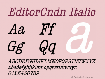 EditorCndn Italic Font Version 2.6; Converter Version 1.10 Font Sample