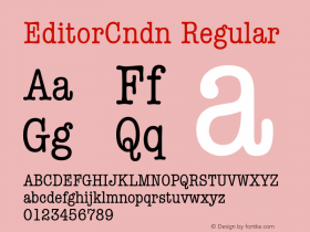 EditorCndn Regular Font Version 2.6; Converter Version 1.10 Font Sample
