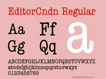 EditorCndn Regular Font Version 2.6; Converter Version 1.10 Font Sample
