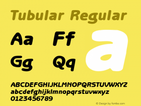Tubular Regular Altsys Fontographer 3.5  5/26/92 Font Sample