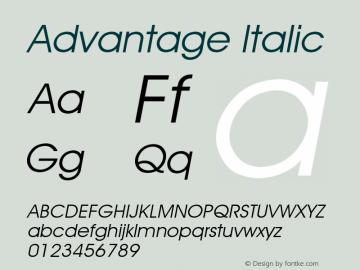 Advantage Italic Font Version 2.6; Converter Version 1.10 Font Sample