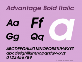 Advantage Bold Italic Font Version 2.6; Converter Version 1.10 Font Sample