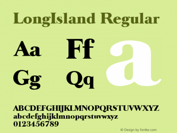 LongIsland Regular Altsys Fontographer 3.5  9/25/92 Font Sample