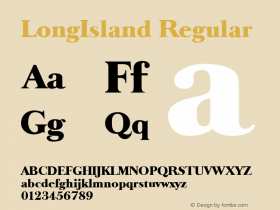 LongIsland Regular Altsys Fontographer 3.5  9/25/92 Font Sample