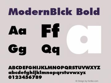 ModernBlck Bold Font Version 2.6; Converter Version 1.10 Font Sample