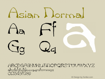 Asian Normal Altsys Fontographer 4.1 5/24/96 Font Sample