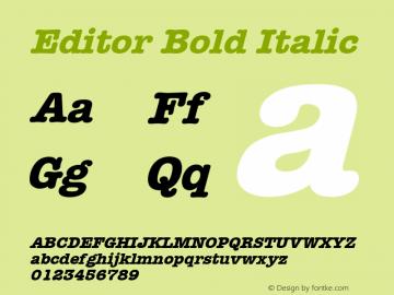 Editor Bold Italic Font Version 2.6; Converter Version 1.10 Font Sample