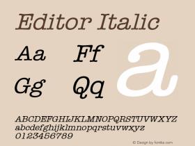 Editor Italic Font Version 2.6; Converter Version 1.10 Font Sample