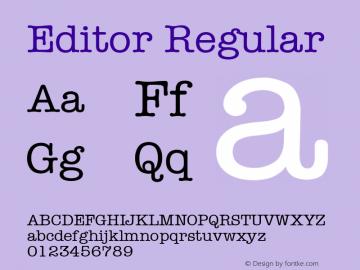 Editor Regular Font Version 2.6; Converter Version 1.10 Font Sample