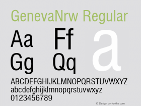 GenevaNrw Regular Font Version 2.6; Converter Version 1.10 Font Sample