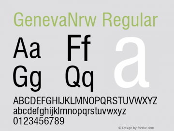 GenevaNrw Regular Font Version 2.6; Converter Version 1.10 Font Sample