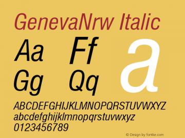 GenevaNrw Italic Font Version 2.6; Converter Version 1.10 Font Sample