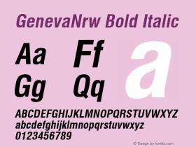 GenevaNrw Bold Italic Font Version 2.6; Converter Version 1.10 Font Sample