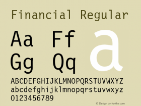 Financial Regular Font Version 2.6; Converter Version 1.10 Font Sample