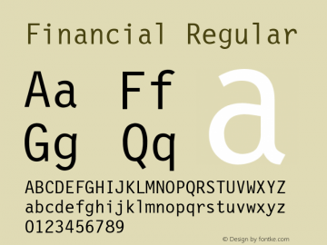 Financial Regular Font Version 2.6; Converter Version 1.10 Font Sample