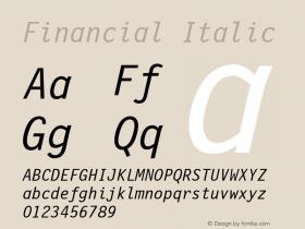 Financial Italic Font Version 2.6; Converter Version 1.10 Font Sample