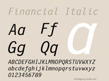 Financial Italic Font Version 2.6; Converter Version 1.10 Font Sample