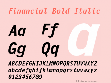 Financial Bold Italic Font Version 2.6; Converter Version 1.10 Font Sample