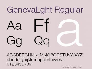 GenevaLght Regular Font Version 2.6; Converter Version 1.10 Font Sample