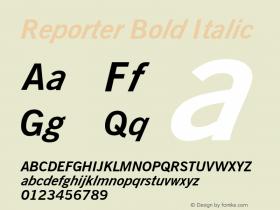 Reporter Bold Italic Font Version 2.6; Converter Version 1.10 Font Sample