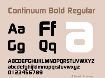 Continuum Bold Regular Macromedia Fontographer 4.1 5/6/96 Font Sample