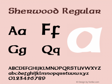 Sherwood Regular Altsys Fontographer 3.5  5/26/92 Font Sample