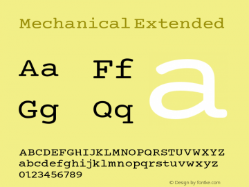 Mechanical Extended Version 1.00 Font Sample