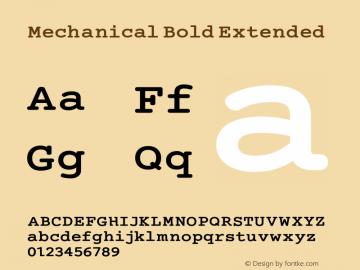 Mechanical Bold Extended Version 1.00 Font Sample