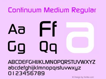 Continuum Medium Regular Macromedia Fontographer 4.1 5/6/96 Font Sample