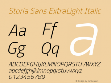 Storia Sans ExtraLight Italic Version 60.001;March 19, 2020;FontCreator 12.0.0.2522 64-bit图片样张