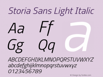 Storia Sans Light Italic Version 60.001;March 19, 2020;FontCreator 12.0.0.2522 64-bit图片样张