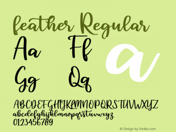 feather Version 1.00;March 20, 2020;FontCreator 12.0.0.2525 64-bit图片样张