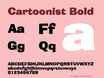 Cartoonist Bold Altsys Fontographer 4.1 5/31/96 Font Sample