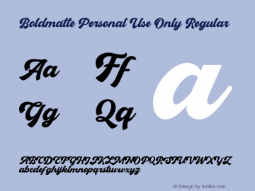 Boldmatte Personal Use Only Version 1.00;March 20, 2020;FontCreator 11.0.0.2408 32-bit图片样张
