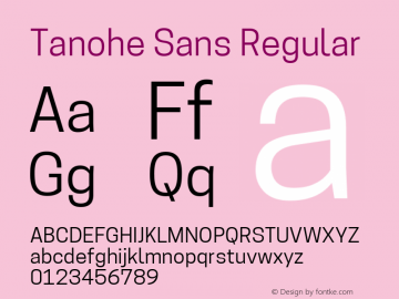 Tanohe Sans Version 1.00;March 21, 2020;FontCreator 12.0.0.2522 64-bit; ttfautohint (v1.8.3)图片样张