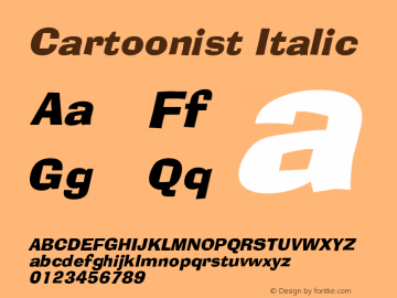 Cartoonist Italic Altsys Fontographer 4.1 5/31/96 Font Sample