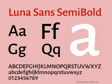 Luna Sans SemiBold Version 2.001;January 11, 2020;FontCreator 12.0.0.2547 64-bit图片样张