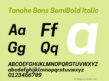 Tanohe Sans SemiBold Italic Version 1.00;March 21, 2020;FontCreator 12.0.0.2522 64-bit; ttfautohint (v1.8.3)图片样张