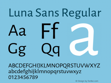 Luna Sans Version 2.001;March 23, 2020;FontCreator 12.0.0.2522 64-bit图片样张
