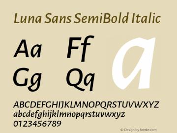 Luna Sans SemiBold Italic Version 2.001;January 11, 2020;FontCreator 12.0.0.2547 64-bit图片样张