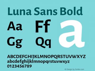 Luna Sans Bold Version 2.001;March 23, 2020;FontCreator 12.0.0.2522 64-bit图片样张