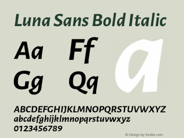 Luna Sans Bold Italic Version 2.001;March 23, 2020;FontCreator 12.0.0.2522 64-bit图片样张