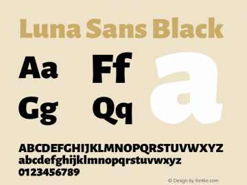 Luna Sans Black Version 2.001;January 11, 2020;FontCreator 12.0.0.2547 64-bit图片样张