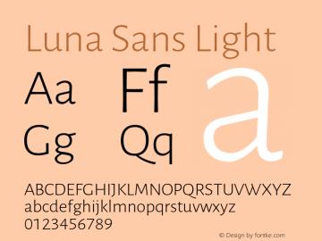 Luna Sans Light Version 2.001;January 11, 2020;FontCreator 12.0.0.2547 64-bit图片样张