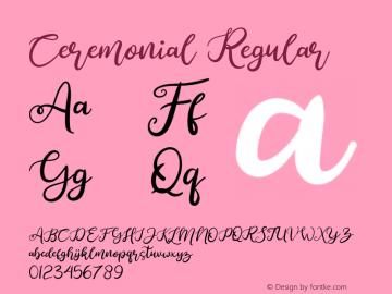 Ceremonial Version 1.00;October 17, 2019;FontCreator 11.5.0.2430 64-bit图片样张