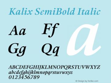 Kalix SemiBold Italic Version 1.00图片样张