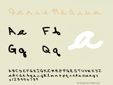 Janis Medium Version 001.000 Font Sample